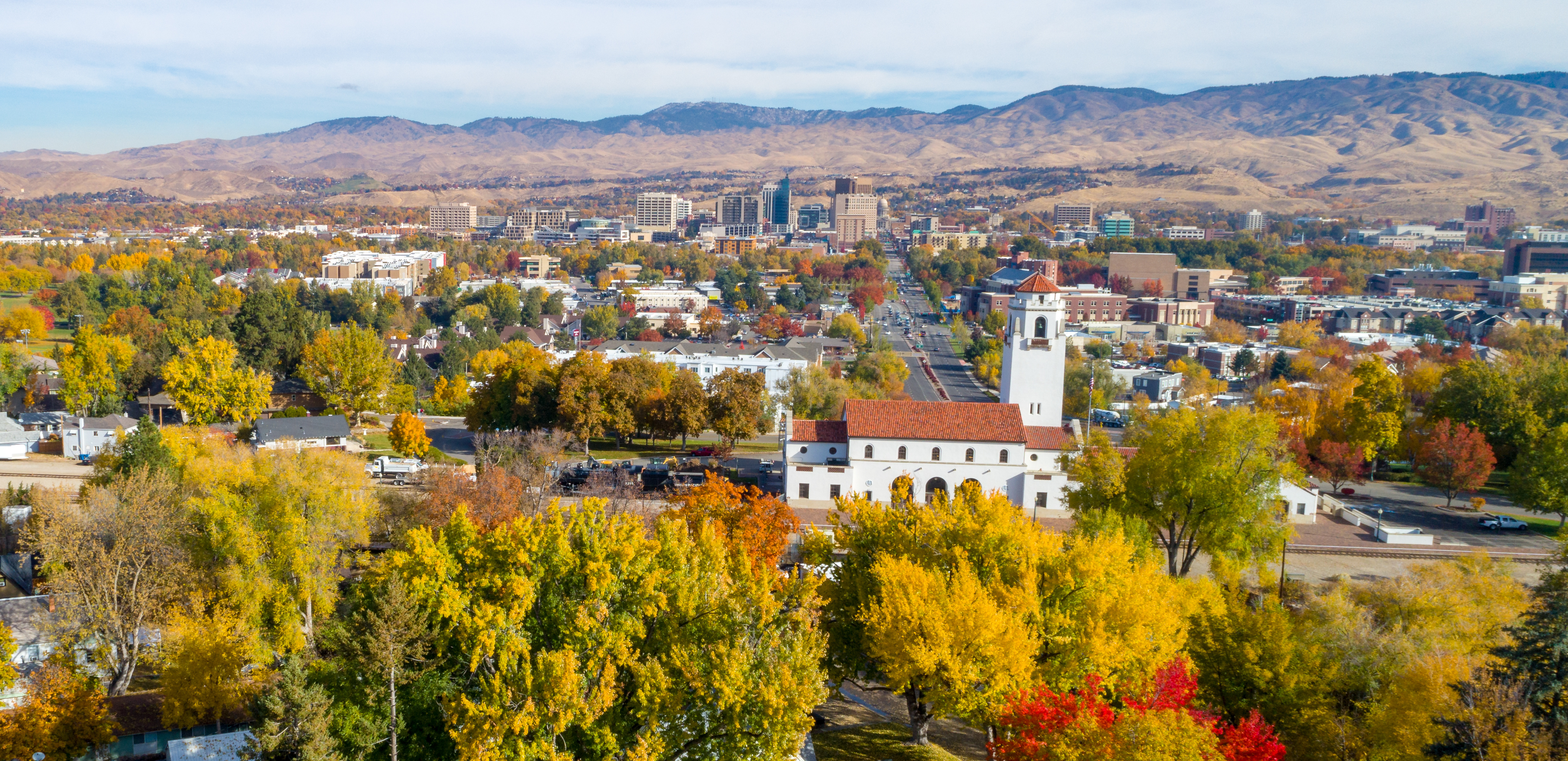 View of downtown Boise and train depot in the fall